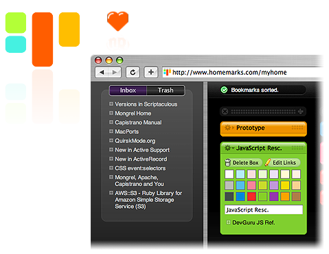 HomeMarks, Simple Project-Based Bookmarks