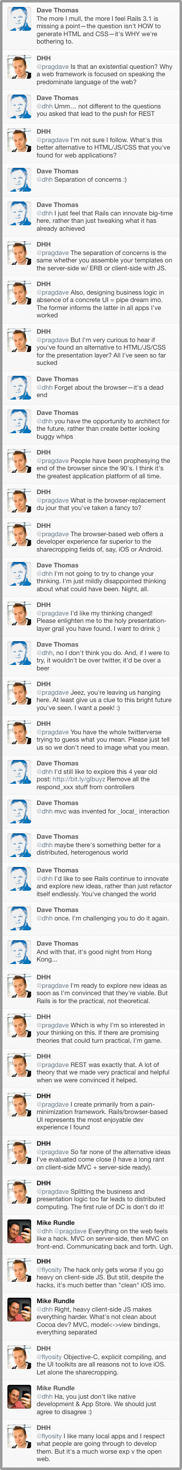 Converstation between DHH And Dave Thomas on Rails 3.1