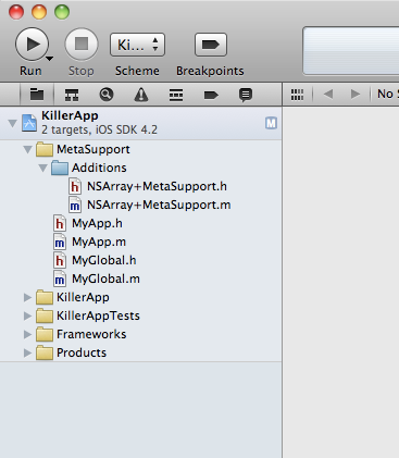 XCode 4 Added New Group