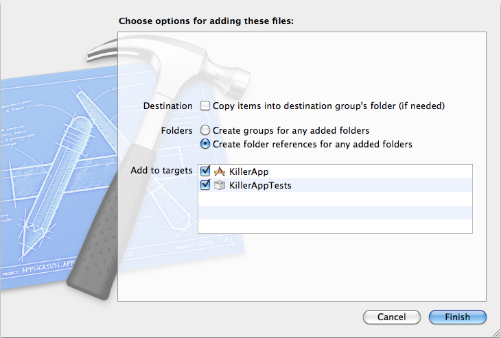 XCode 4 Added New Files
