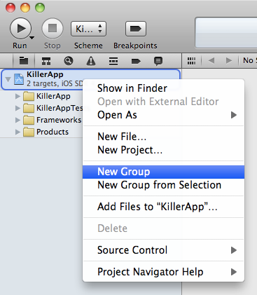 XCode 4 Add New Group